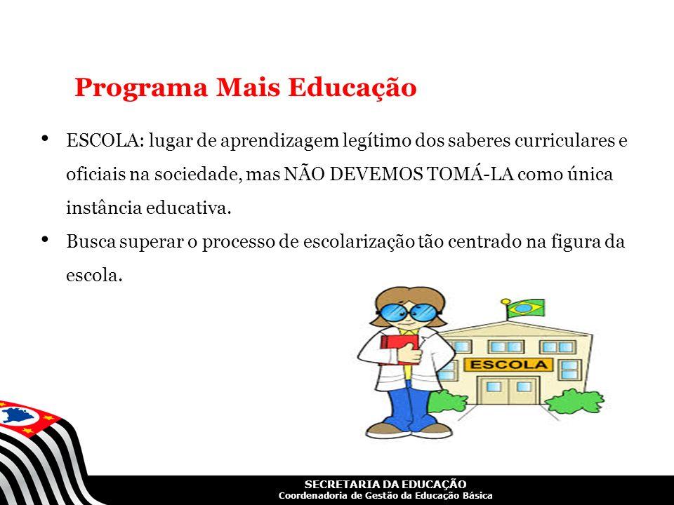 SECRETARIA DA EDUCAÇÃO Coordenadoria de Gestão da Educação Básica Programa Mais Educação ESCOLA: lugar de aprendizagem legítimo dos saberes curricular