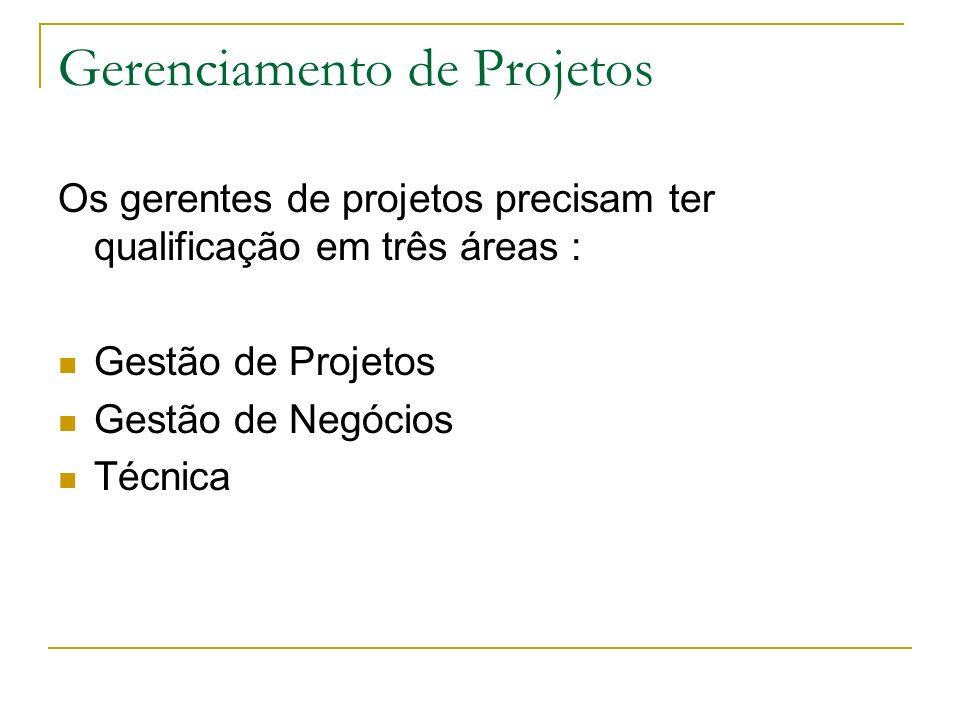 Gerenciamento de Projetos Os gerentes de projetos precisam ter qualificação em três áreas : Gestão de Projetos Gestão de Negócios Técnica