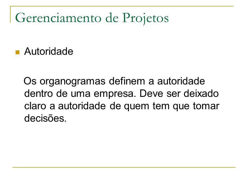 Gerenciamento de Projetos Autoridade Os organogramas definem a autoridade dentro de uma empresa.