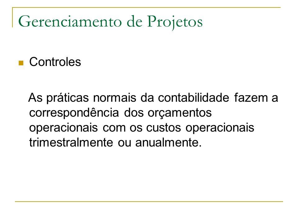 Gerenciamento de Projetos Controles As práticas normais da contabilidade fazem a correspondência dos orçamentos operacionais com os custos operacionai