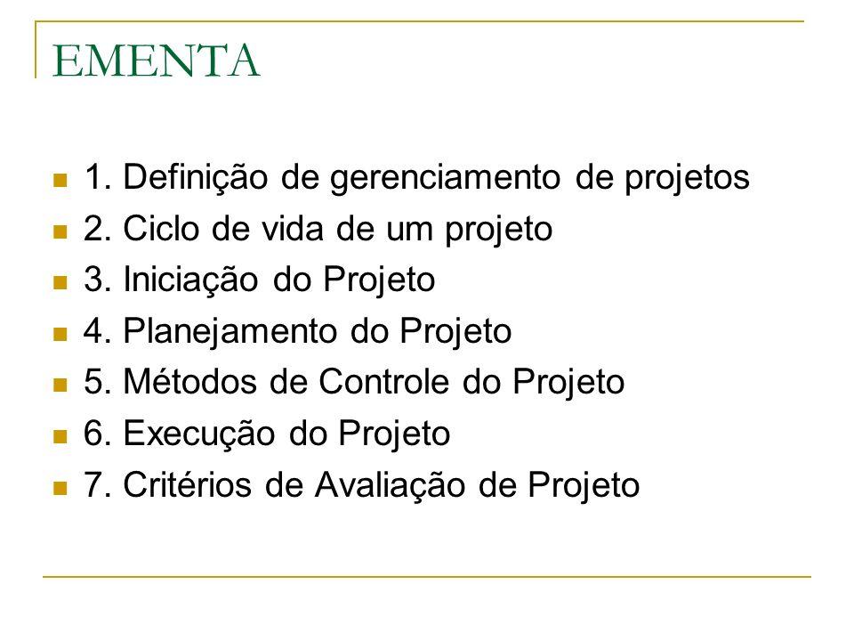 EMENTA 1. Definição de gerenciamento de projetos 2. Ciclo de vida de um projeto 3. Iniciação do Projeto 4. Planejamento do Projeto 5. Métodos de Contr