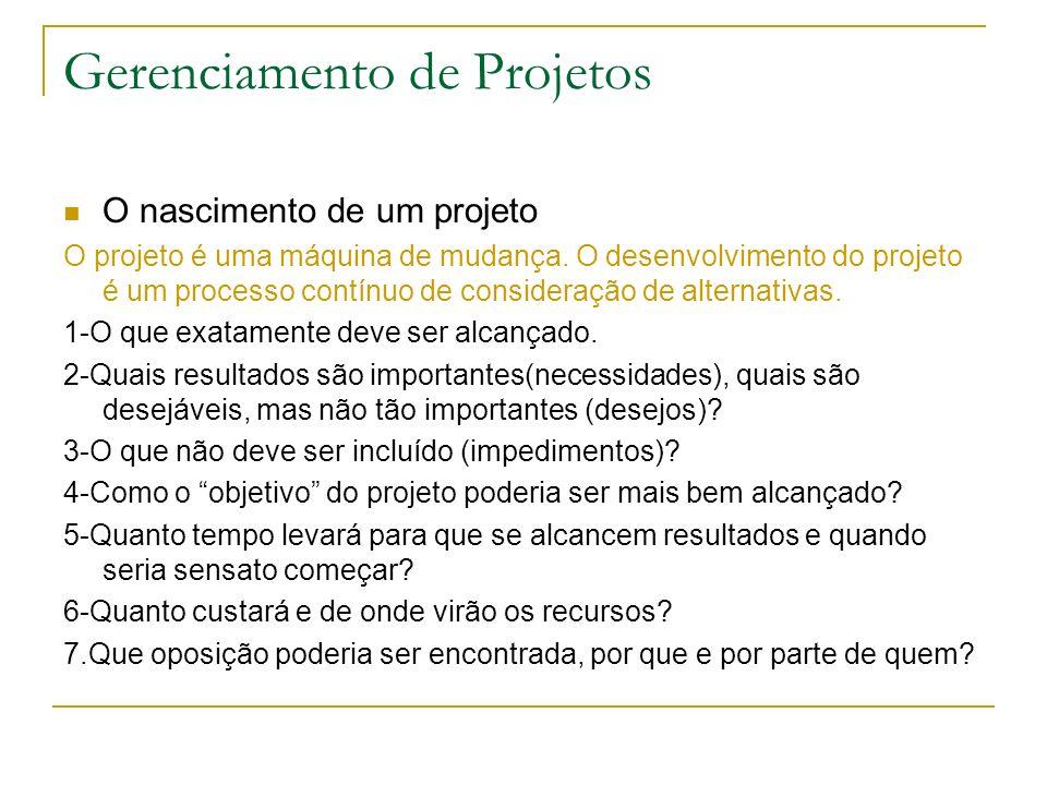 Gerenciamento de Projetos O nascimento de um projeto O projeto é uma máquina de mudança. O desenvolvimento do projeto é um processo contínuo de consid