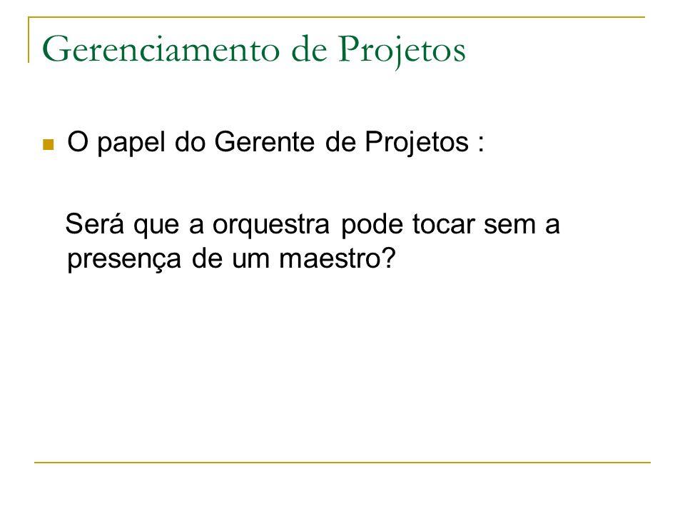 Gerenciamento de Projetos O papel do Gerente de Projetos : Será que a orquestra pode tocar sem a presença de um maestro?