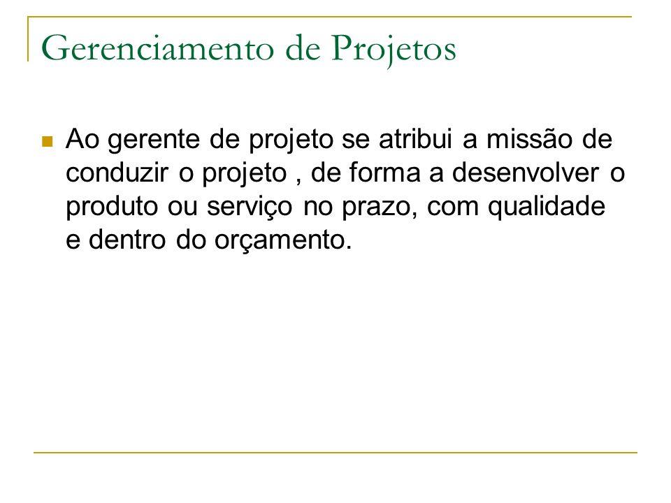 Gerenciamento de Projetos Ao gerente de projeto se atribui a missão de conduzir o projeto, de forma a desenvolver o produto ou serviço no prazo, com qualidade e dentro do orçamento.