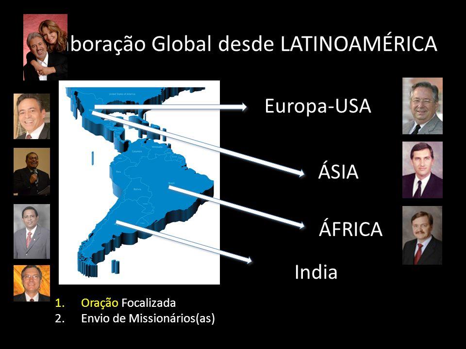 Colaboração Global desde LATINOAMÉRICA Europa-USA ÁSIA ÁFRICA India 1.Oração Focalizada 2.Envio de Missionários(as)