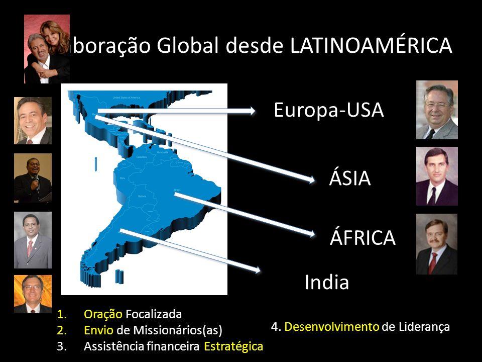 Colaboração Global desde LATINOAMÉRICA Europa-USA ÁSIA ÁFRICA India 1.Oração Focalizada 2.Envio de Missionários(as) 3.Assistência financeira Estratégi