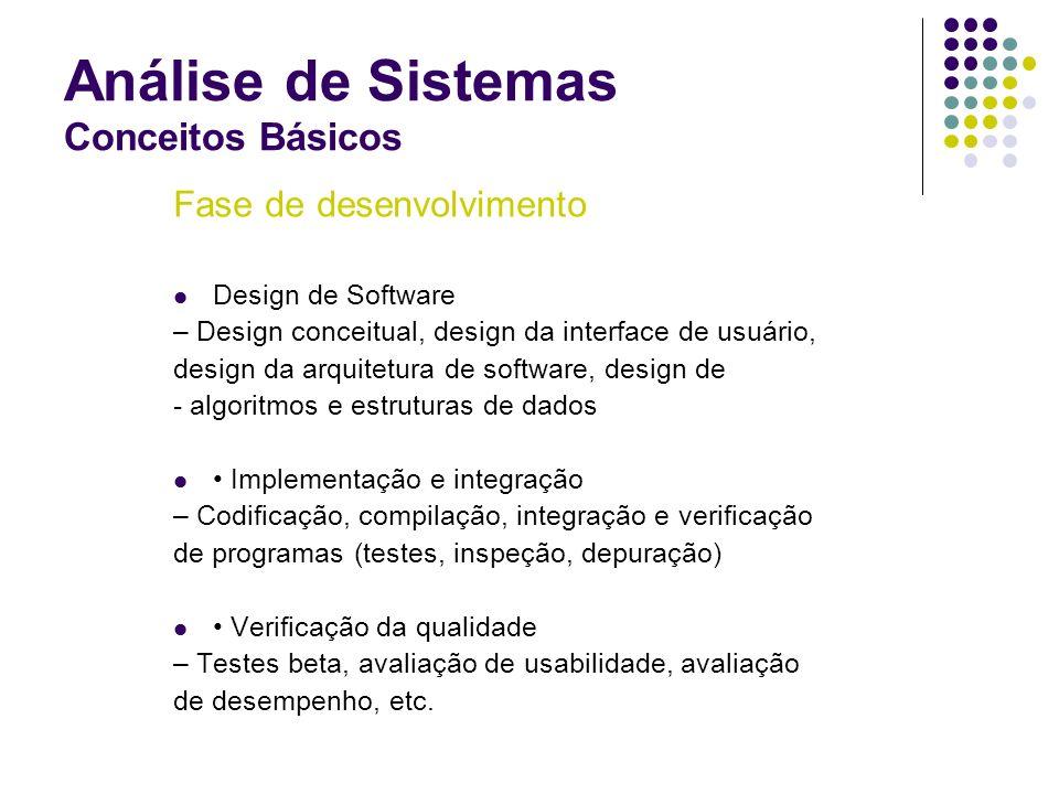 Análise de Sistemas Conceitos Básicos Fase de desenvolvimento Design de Software – Design conceitual, design da interface de usuário, design da arquit