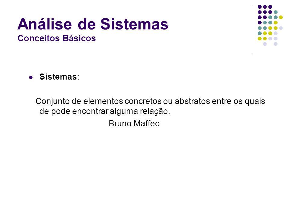 Análise de Sistemas Conceitos Básicos Sistemas: Conjunto de elementos concretos ou abstratos entre os quais de pode encontrar alguma relação.