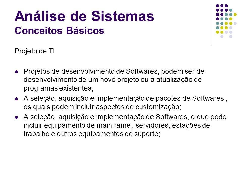 Análise de Sistemas Conceitos Básicos Projeto de TI Projetos de desenvolvimento de Softwares, podem ser de desenvolvimento de um novo projeto ou a atu