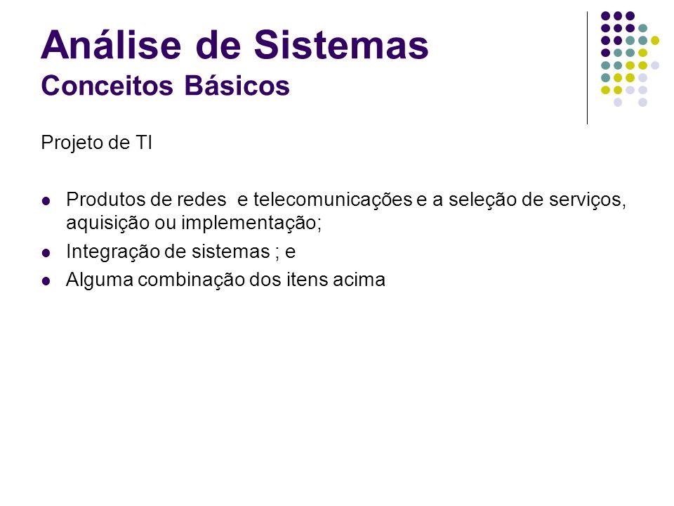 Análise de Sistemas Conceitos Básicos Projeto de TI Produtos de redes e telecomunicações e a seleção de serviços, aquisição ou implementação; Integraç