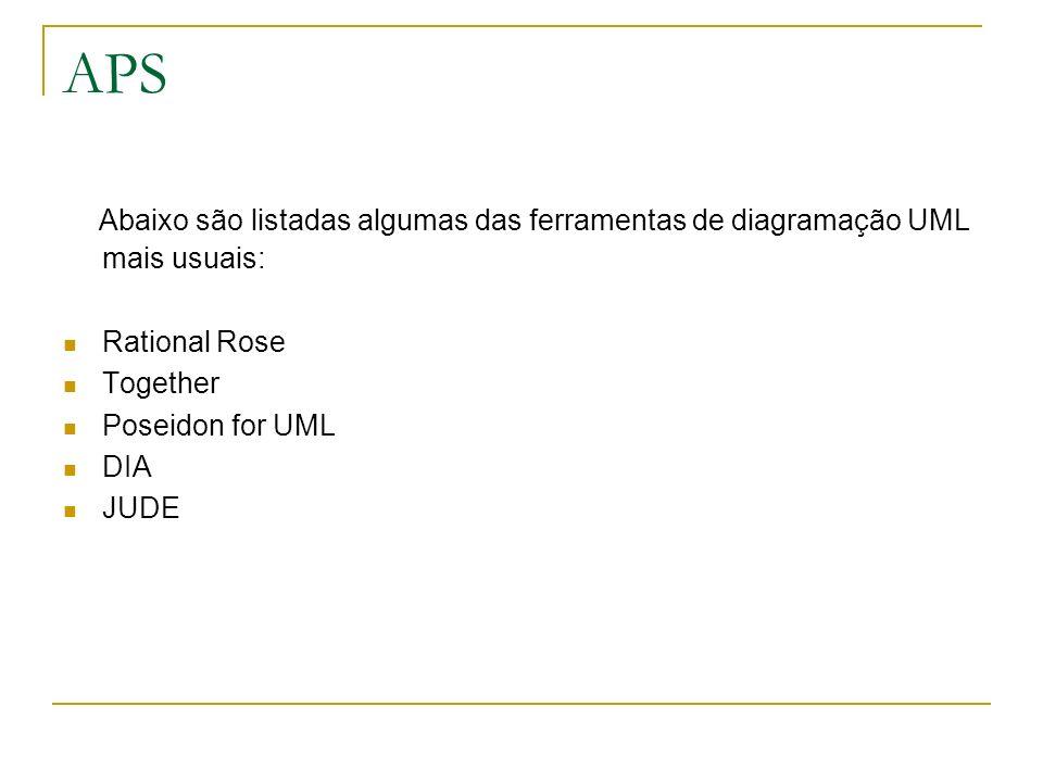 APS Abaixo são listadas algumas das ferramentas de diagramação UML mais usuais: Rational Rose Together Poseidon for UML DIA JUDE