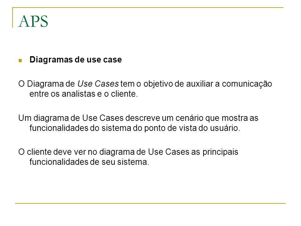 APS Diagramas de use case O Diagrama de Use Cases tem o objetivo de auxiliar a comunicação entre os analistas e o cliente. Um diagrama de Use Cases de