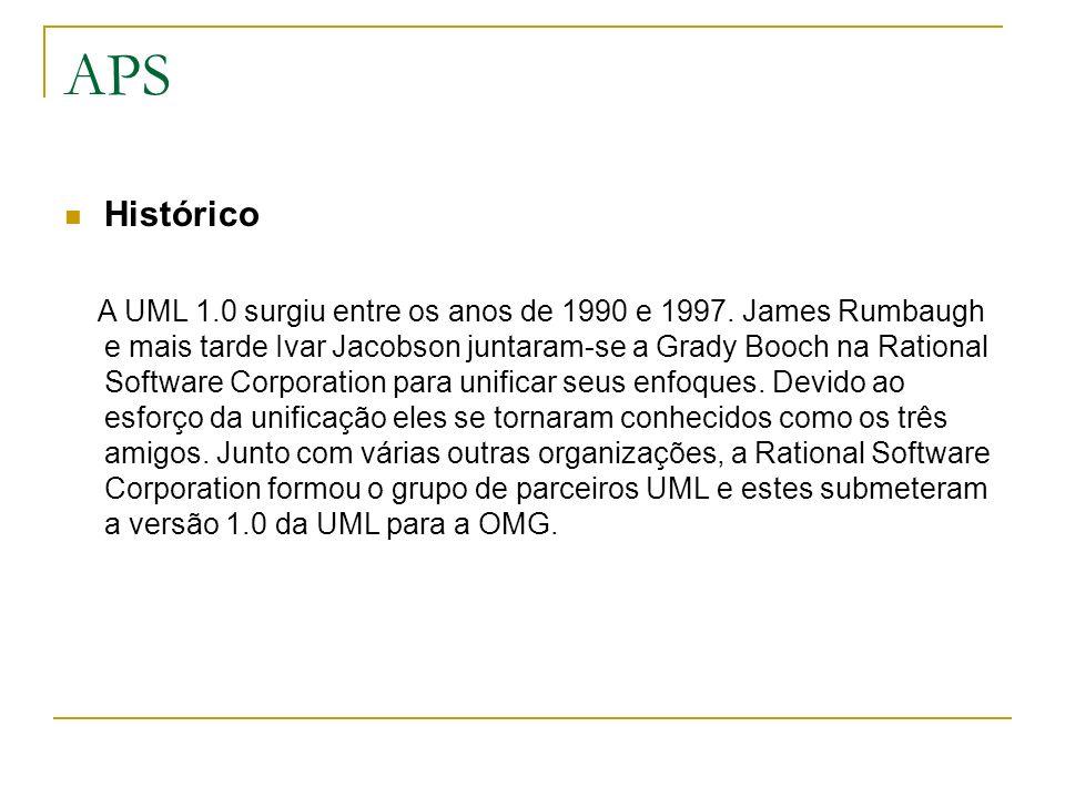 APS Histórico A UML 1.0 surgiu entre os anos de 1990 e 1997. James Rumbaugh e mais tarde Ivar Jacobson juntaram-se a Grady Booch na Rational Software