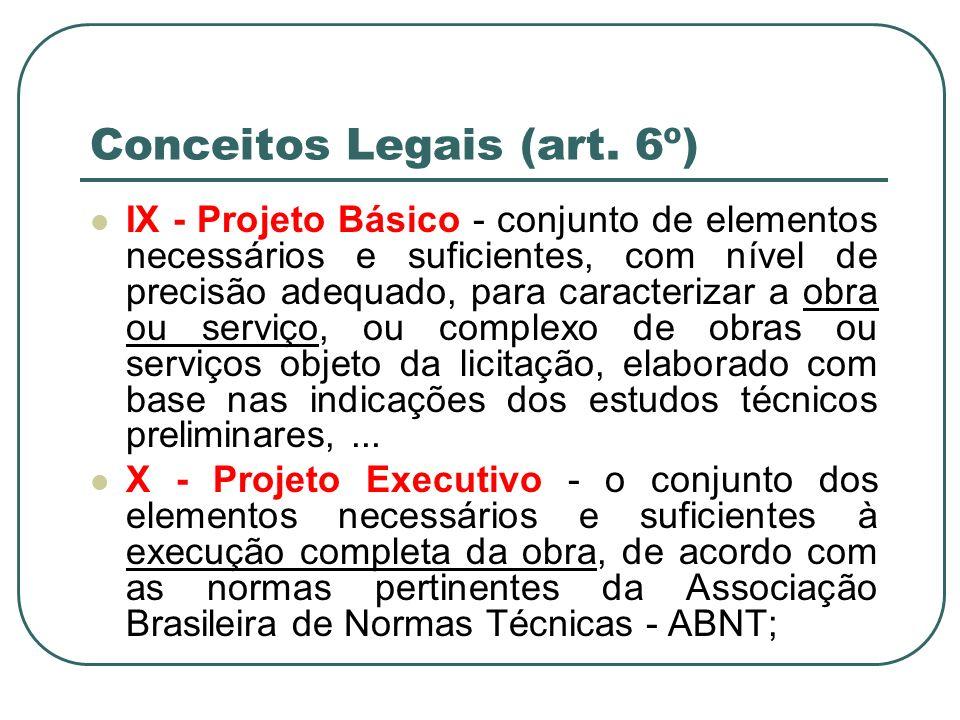 Conceitos Legais (art. 6º) IX - Projeto Básico - conjunto de elementos necessários e suficientes, com nível de precisão adequado, para caracterizar a