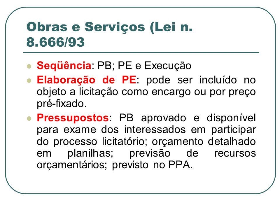 Obras e Serviços (Lei n. 8.666/93 Seqüência: PB; PE e Execução Elaboração de PE: pode ser incluído no objeto a licitação como encargo ou por preço pré