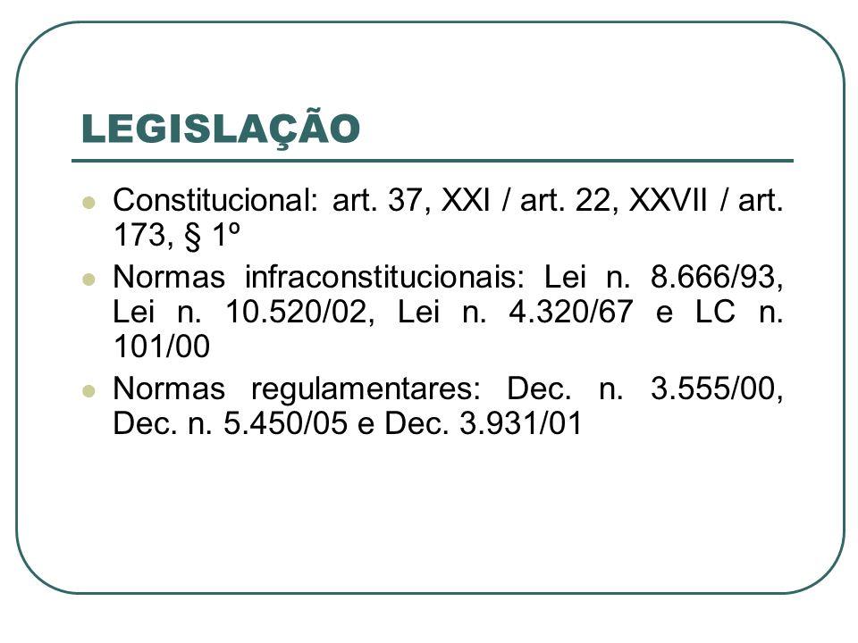 LEGISLAÇÃO Constitucional: art. 37, XXI / art. 22, XXVII / art. 173, § 1º Normas infraconstitucionais: Lei n. 8.666/93, Lei n. 10.520/02, Lei n. 4.320