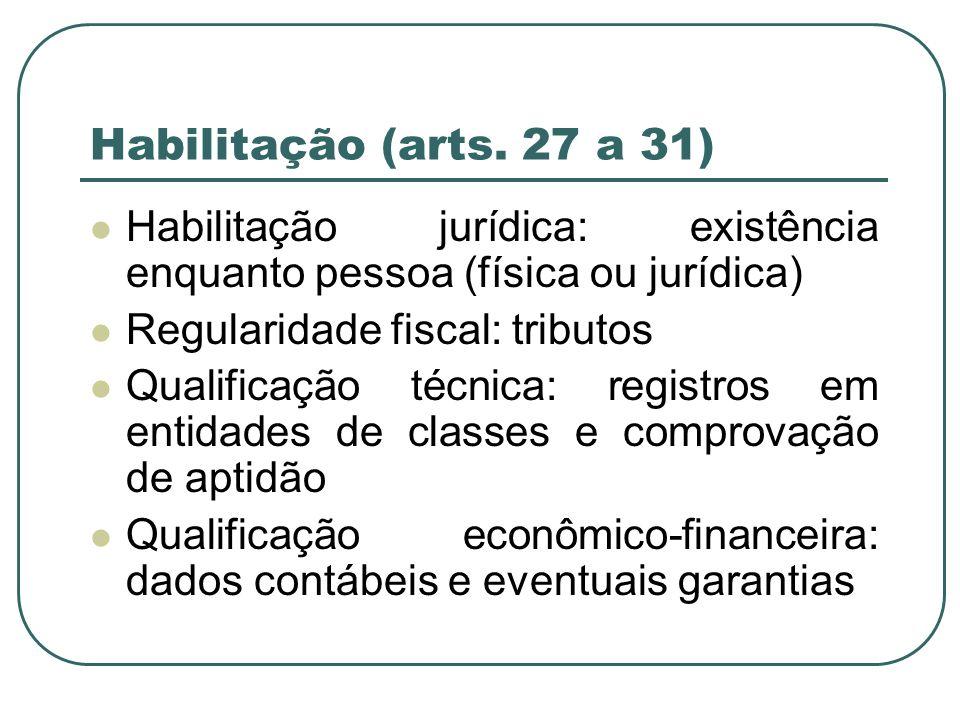 Habilitação (arts. 27 a 31) Habilitação jurídica: existência enquanto pessoa (física ou jurídica) Regularidade fiscal: tributos Qualificação técnica: