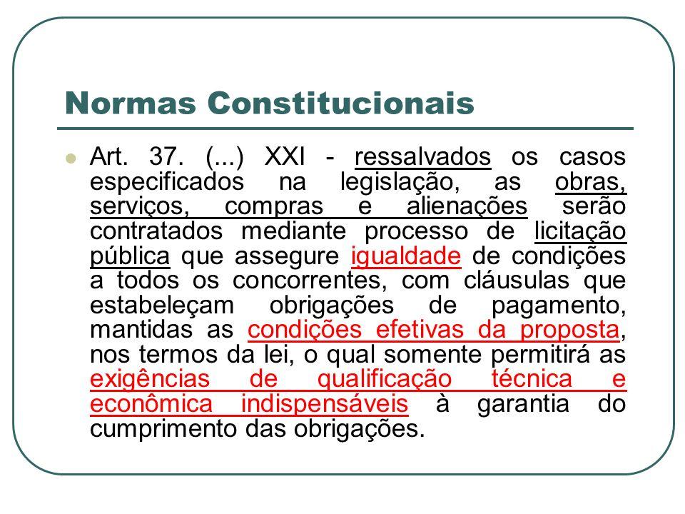 Normas Constitucionais Art. 37. (...) XXI - ressalvados os casos especificados na legislação, as obras, serviços, compras e alienações serão contratad