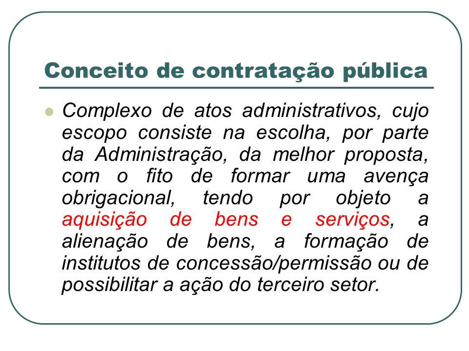 Conceito de contratação pública Complexo de atos administrativos, cujo escopo consiste na escolha, por parte da Administração, da melhor proposta, com