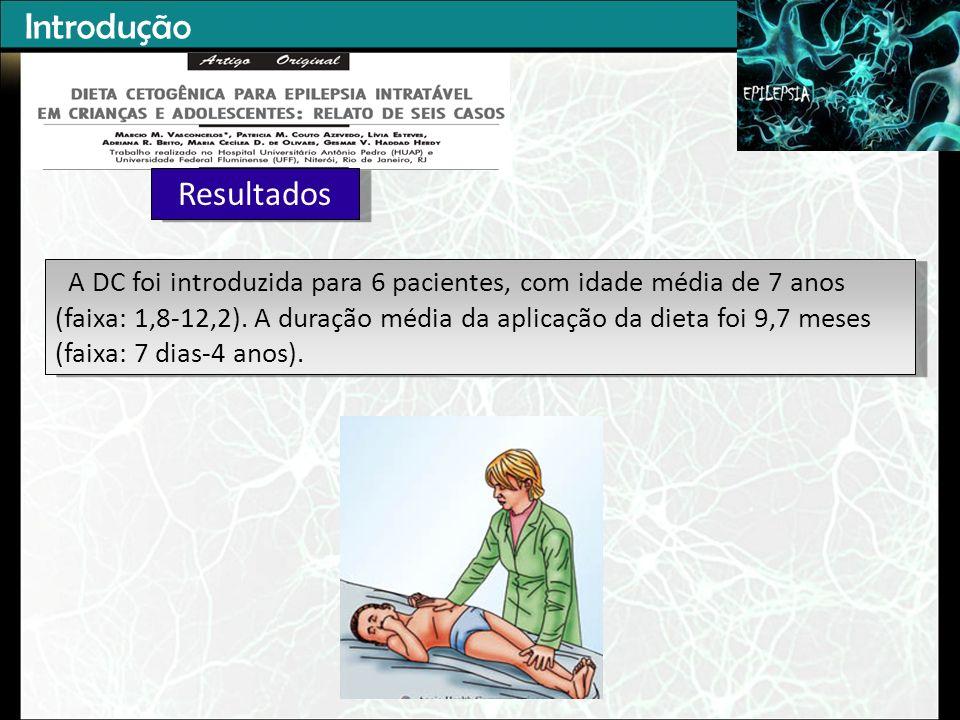 Introdução Resultados A DC foi introduzida para 6 pacientes, com idade média de 7 anos (faixa: 1,8-12,2).