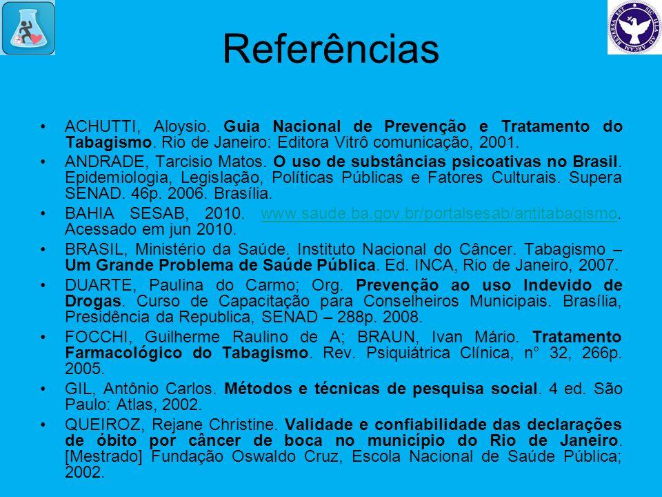 Referências ACHUTTI, Aloysio. Guia Nacional de Prevenção e Tratamento do Tabagismo. Rio de Janeiro: Editora Vitrô comunicação, 2001. ANDRADE, Tarcisio