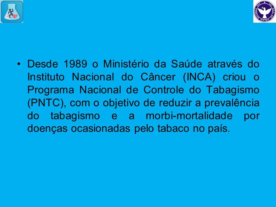 Desde 1989 o Ministério da Saúde através do Instituto Nacional do Câncer (INCA) criou o Programa Nacional de Controle do Tabagismo (PNTC), com o objet