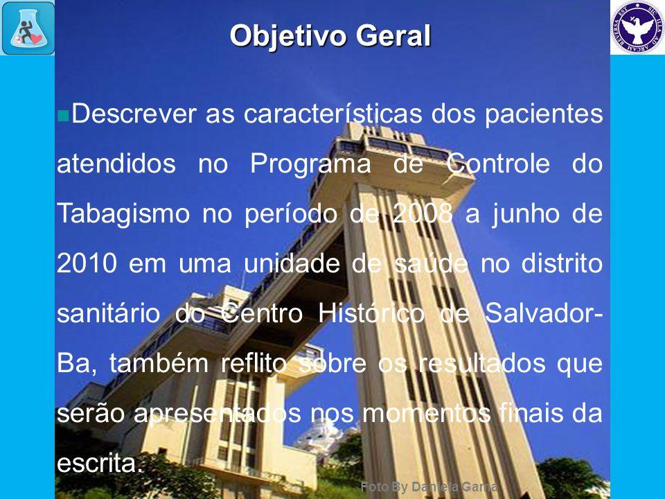 Objetivo Geral Descrever as características dos pacientes atendidos no Programa de Controle do Tabagismo no período de 2008 a junho de 2010 em uma uni