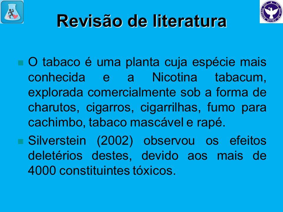 Revisão de literatura O tabaco é uma planta cuja espécie mais conhecida e a Nicotina tabacum, explorada comercialmente sob a forma de charutos, cigarr