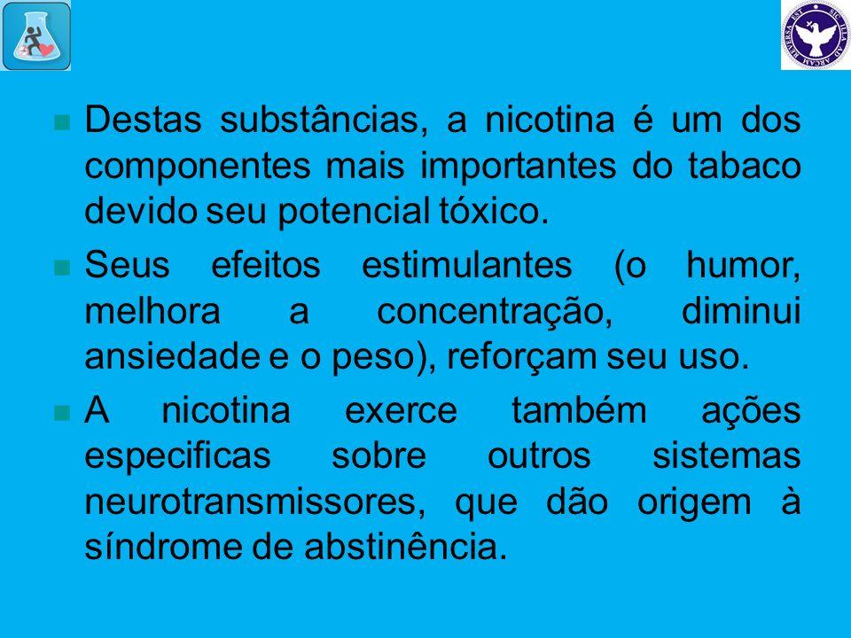 Destas substâncias, a nicotina é um dos componentes mais importantes do tabaco devido seu potencial tóxico. Seus efeitos estimulantes (o humor, melhor