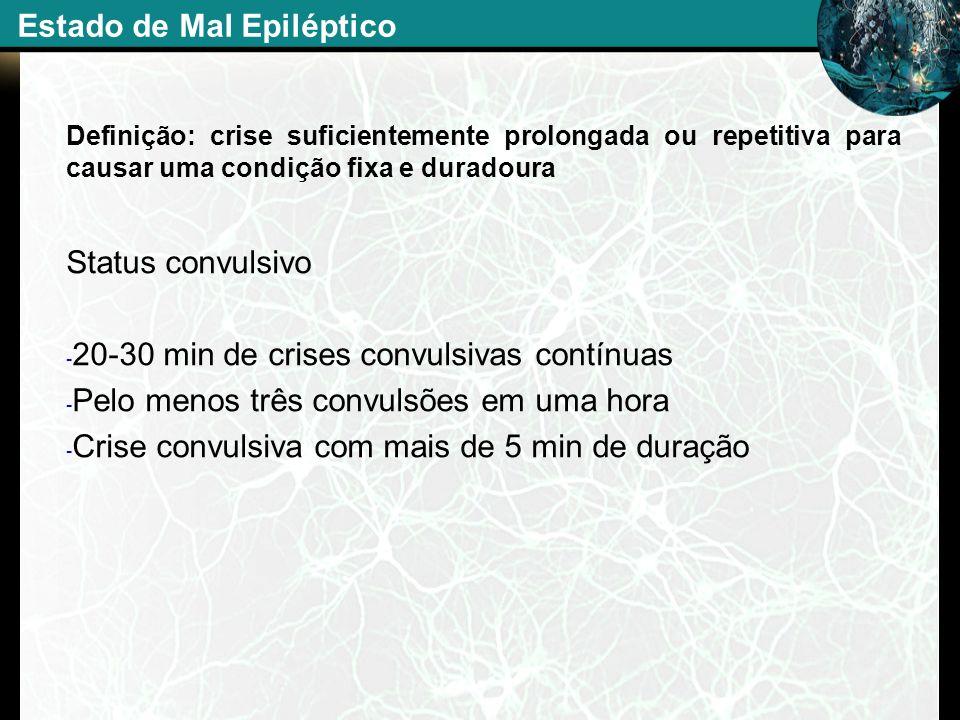 Definição: crise suficientemente prolongada ou repetitiva para causar uma condição fixa e duradoura Status convulsivo - 20-30 min de crises convulsiva