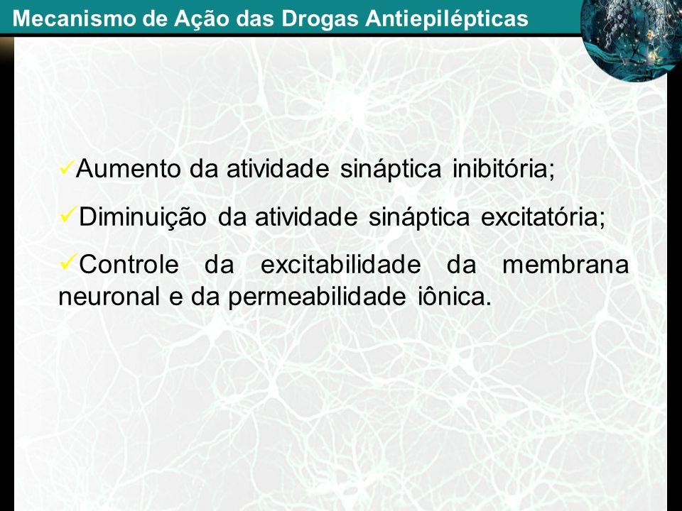 Aumento da atividade sináptica inibitória; Diminuição da atividade sináptica excitatória; Controle da excitabilidade da membrana neuronal e da permeab