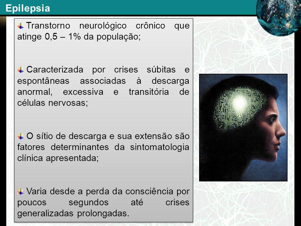 Transtorno neurológico crônico que atinge 0,5 – 1% da população; Caracterizada por crises súbitas e espontâneas associadas à descarga anormal, excessi