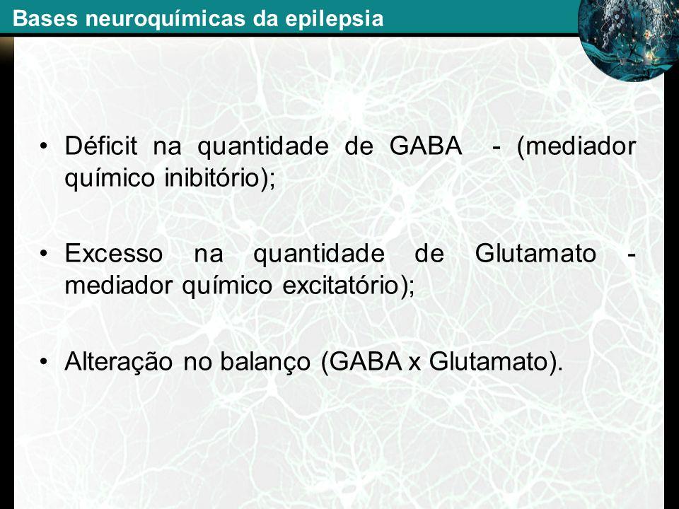 Déficit na quantidade de GABA - (mediador químico inibitório); Excesso na quantidade de Glutamato - mediador químico excitatório); Alteração no balanç