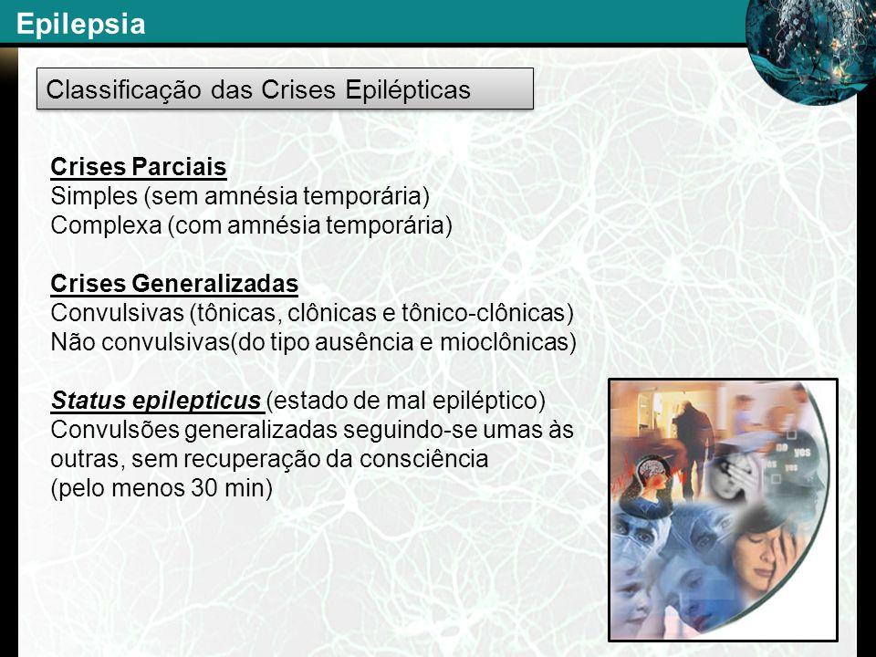 Classificação das Crises Epilépticas Crises Parciais Simples (sem amnésia temporária) Complexa (com amnésia temporária) Crises Generalizadas Convulsiv