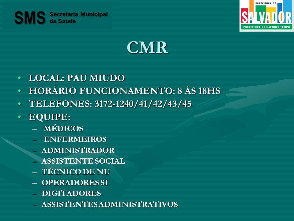 CMR LOCAL: PAU MIUDOLOCAL: PAU MIUDO HORÁRIO FUNCIONAMENTO: 8 ÀS 18HSHORÁRIO FUNCIONAMENTO: 8 ÀS 18HS TELEFONES: 3172-1240/41/42/43/45TELEFONES: 3172-