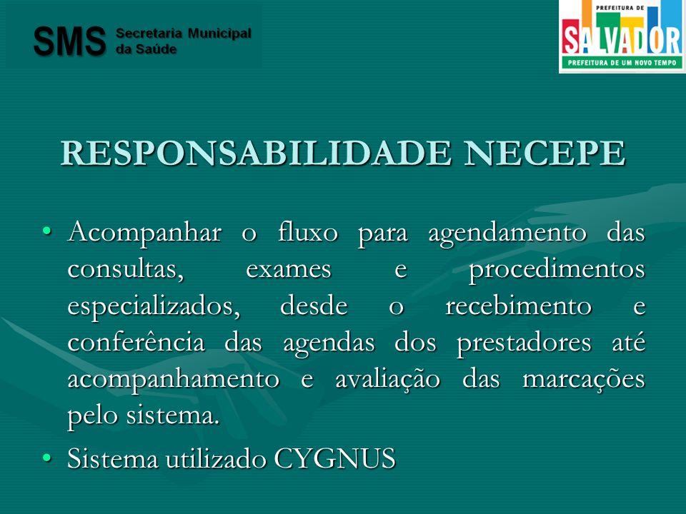 RESPONSABILIDADE NECEPE Acompanhar o fluxo para agendamento das consultas, exames e procedimentos especializados, desde o recebimento e conferência da
