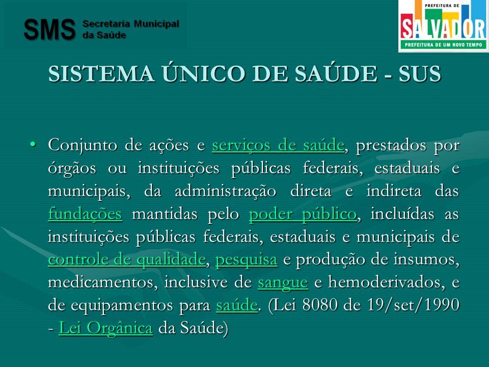 SISTEMA ÚNICO DE SAÚDE - SUS Conjunto de ações e serviços de saúde, prestados por órgãos ou instituições públicas federais, estaduais e municipais, da