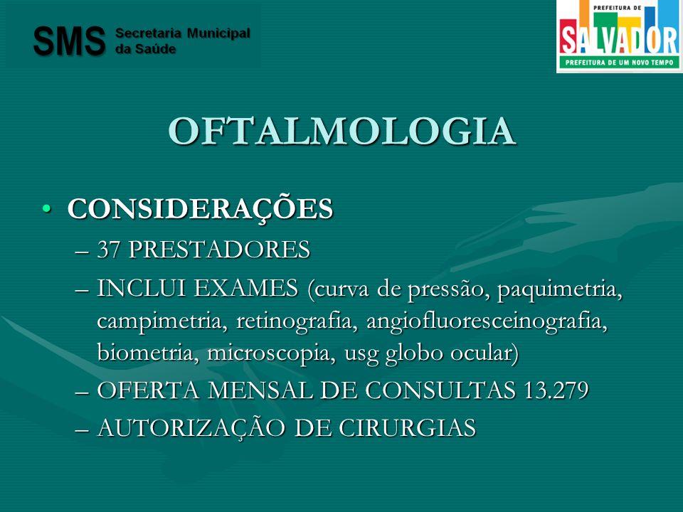 OFTALMOLOGIA CONSIDERAÇÕESCONSIDERAÇÕES –37 PRESTADORES –INCLUI EXAMES (curva de pressão, paquimetria, campimetria, retinografia, angiofluoresceinogra