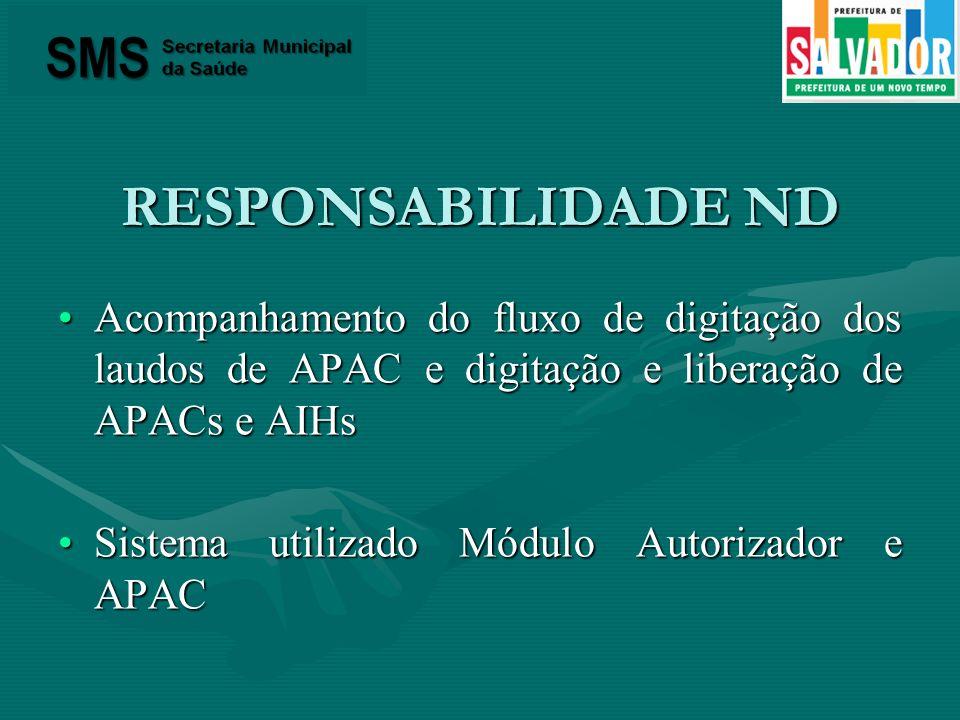 RESPONSABILIDADE ND Acompanhamento do fluxo de digitação dos laudos de APAC e digitação e liberação de APACs e AIHsAcompanhamento do fluxo de digitaçã