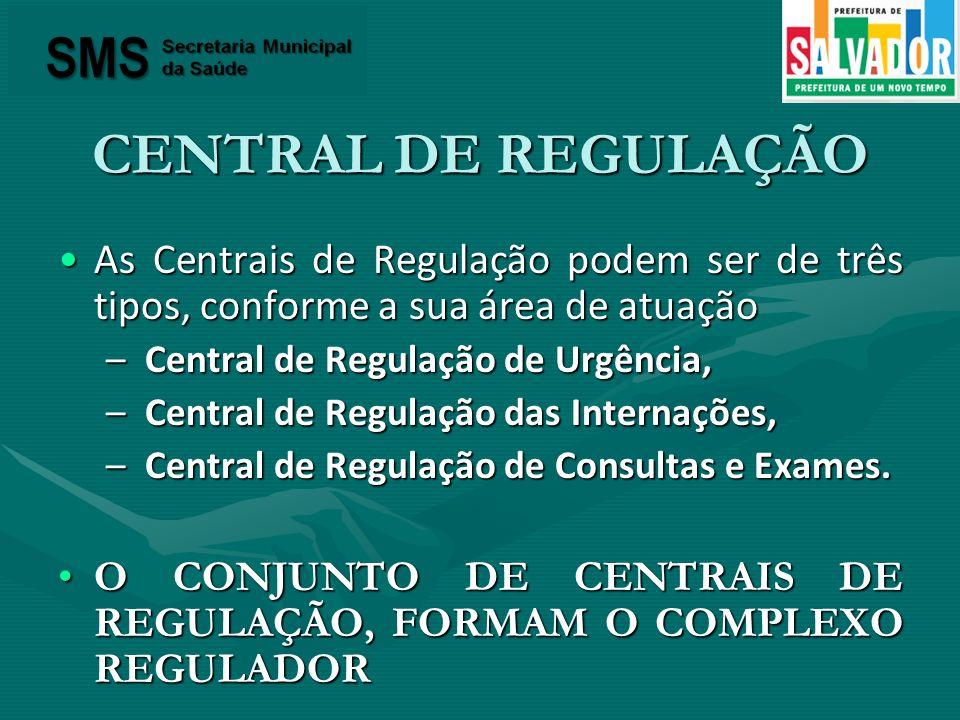 CENTRAL DE REGULAÇÃO As Centrais de Regulação podem ser de três tipos, conforme a sua área de atuaçãoAs Centrais de Regulação podem ser de três tipos,
