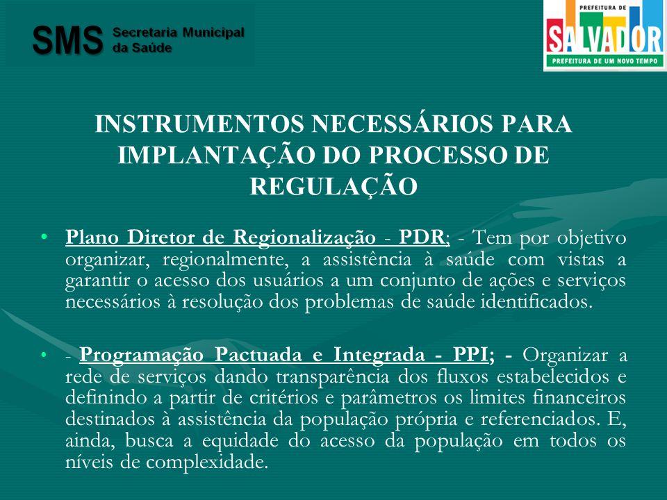 INSTRUMENTOS NECESSÁRIOS PARA IMPLANTAÇÃO DO PROCESSO DE REGULAÇÃO Plano Diretor de Regionalização - PDR; - Tem por objetivo organizar, regionalmente,
