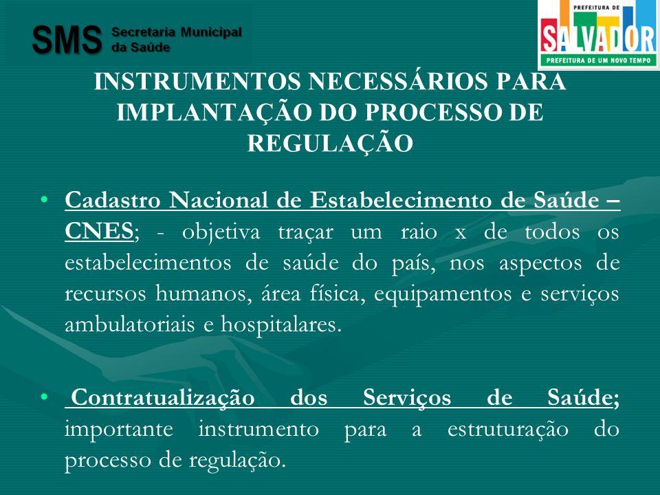 INSTRUMENTOS NECESSÁRIOS PARA IMPLANTAÇÃO DO PROCESSO DE REGULAÇÃO Cadastro Nacional de Estabelecimento de Saúde – CNES; - objetiva traçar um raio x d