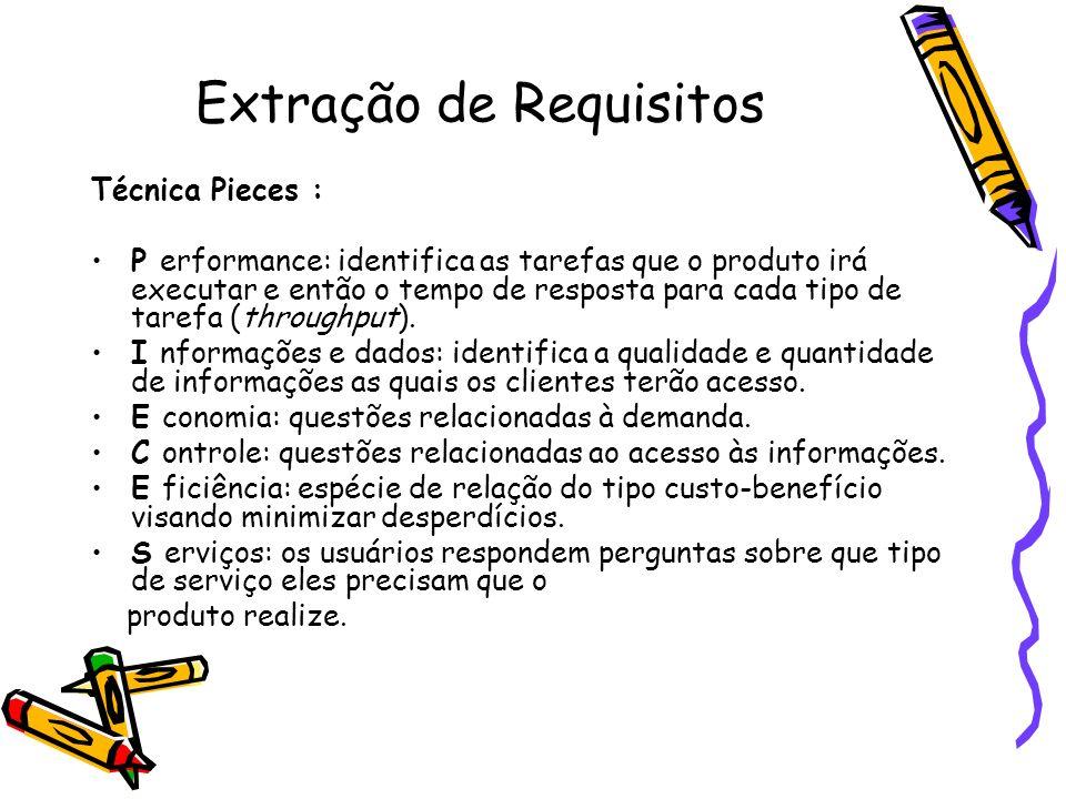 Extração de Requisitos Técnica Pieces : P erformance: identifica as tarefas que o produto irá executar e então o tempo de resposta para cada tipo de t