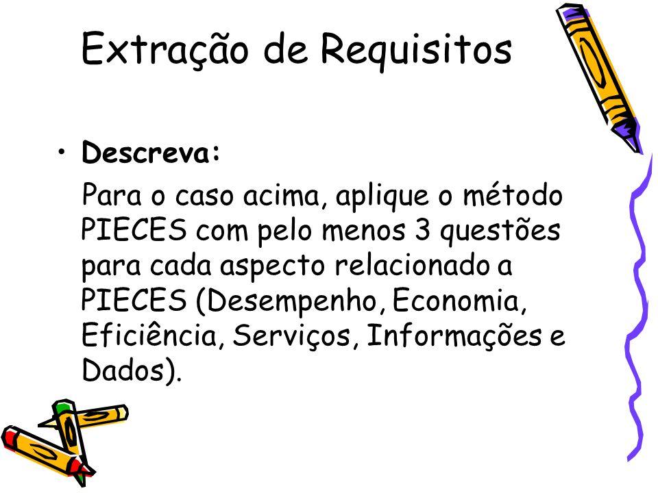 Extração de Requisitos Descreva: Para o caso acima, aplique o método PIECES com pelo menos 3 questões para cada aspecto relacionado a PIECES (Desempen