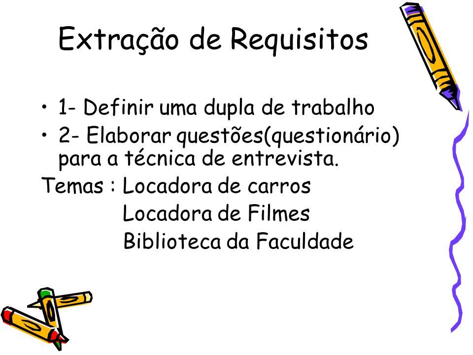 Extração de Requisitos 1- Definir uma dupla de trabalho 2- Elaborar questões(questionário) para a técnica de entrevista. Temas : Locadora de carros Lo