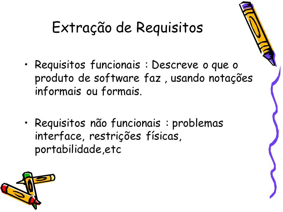 Requisitos funcionais : Descreve o que o produto de software faz, usando notações informais ou formais. Requisitos não funcionais : problemas interfac