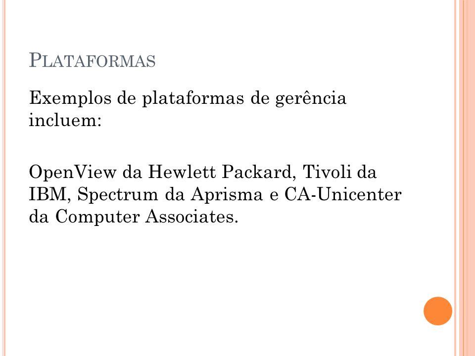 Exemplos de plataformas de gerência incluem: OpenView da Hewlett Packard, Tivoli da IBM, Spectrum da Aprisma e CA-Unicenter da Computer Associates.