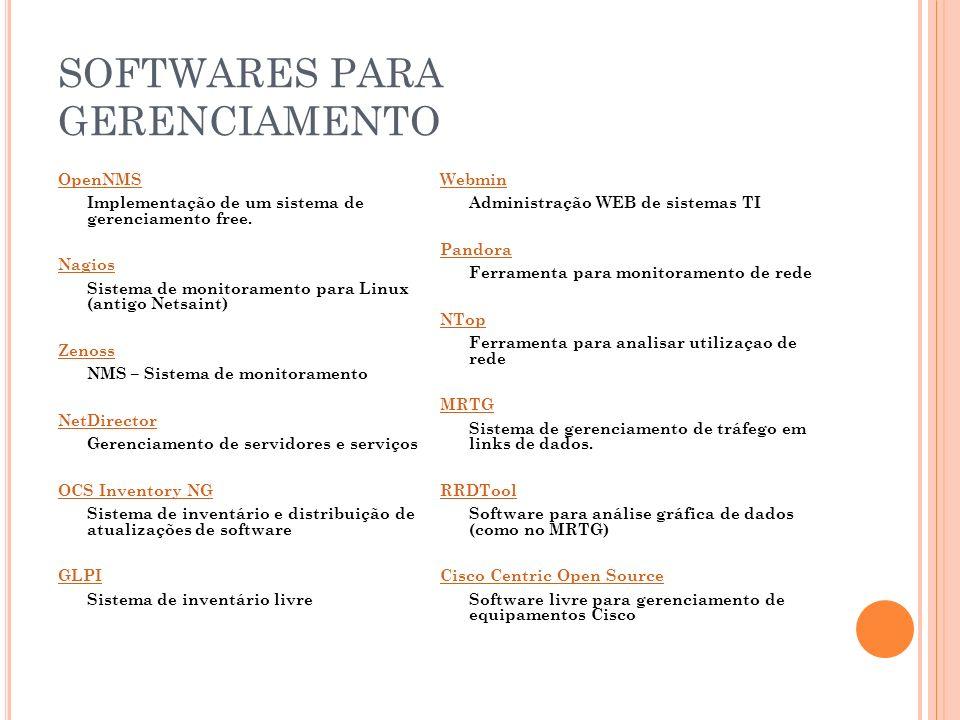 SOFTWARES PARA GERENCIAMENTO OpenNMS Implementação de um sistema de gerenciamento free. Nagios Sistema de monitoramento para Linux (antigo Netsaint) Z