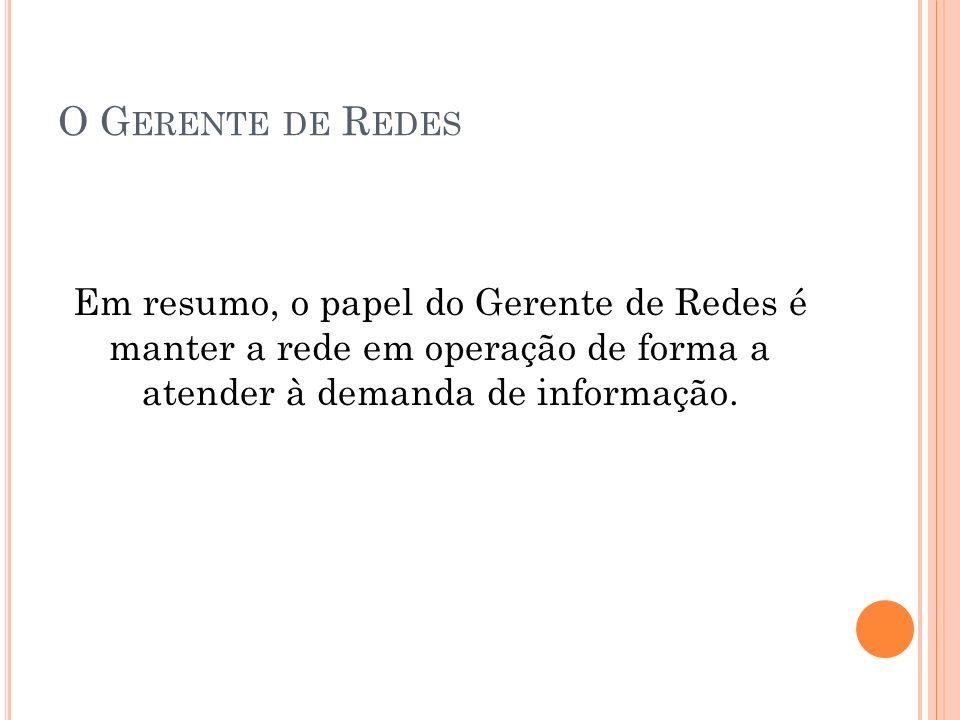 O G ERENTE DE R EDES Em resumo, o papel do Gerente de Redes é manter a rede em operação de forma a atender à demanda de informação.