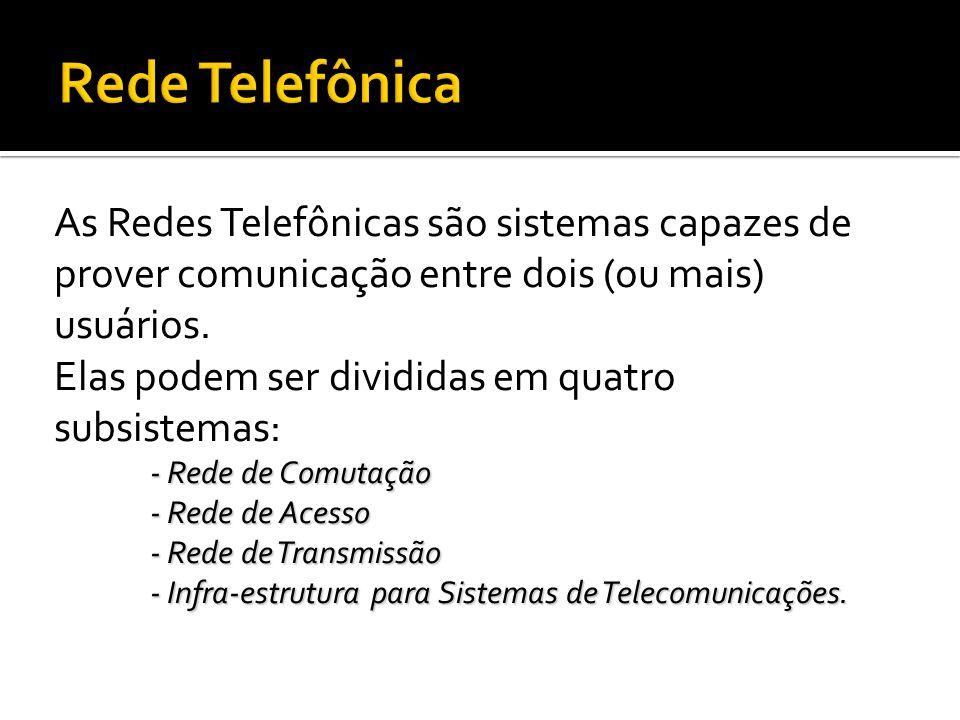 A Rede de Comutação é composta por elementos chamados de centrais de comutação, que permitem o encaminhamento da chamada telefônica (chamador/chamado).